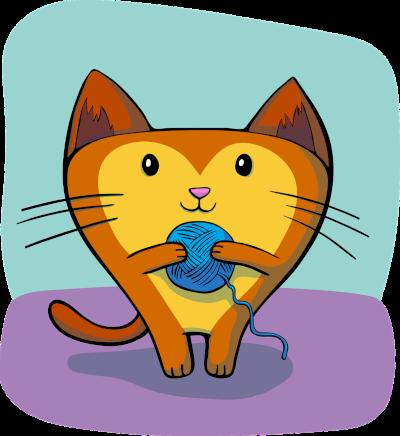 Katt med garnnysta